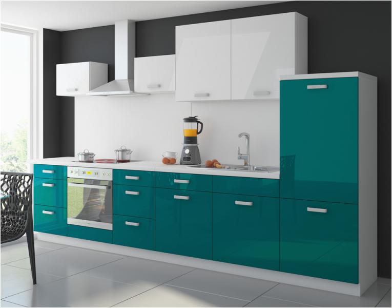 Küche Weiß Petrol Küche Color 340 Cm Küchenzeile Küchenblock Einbauküche In