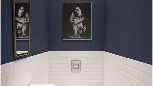 Badezimmer Fliesen Dunkelblau Boden Fliesen Gäste Gästetoilette Gemusterte Halbhoch