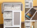 Badezimmerschrank Rattan 2 In 1 Kommode Bügeltisch Bügelbrett Mit Körben Weiß Grau